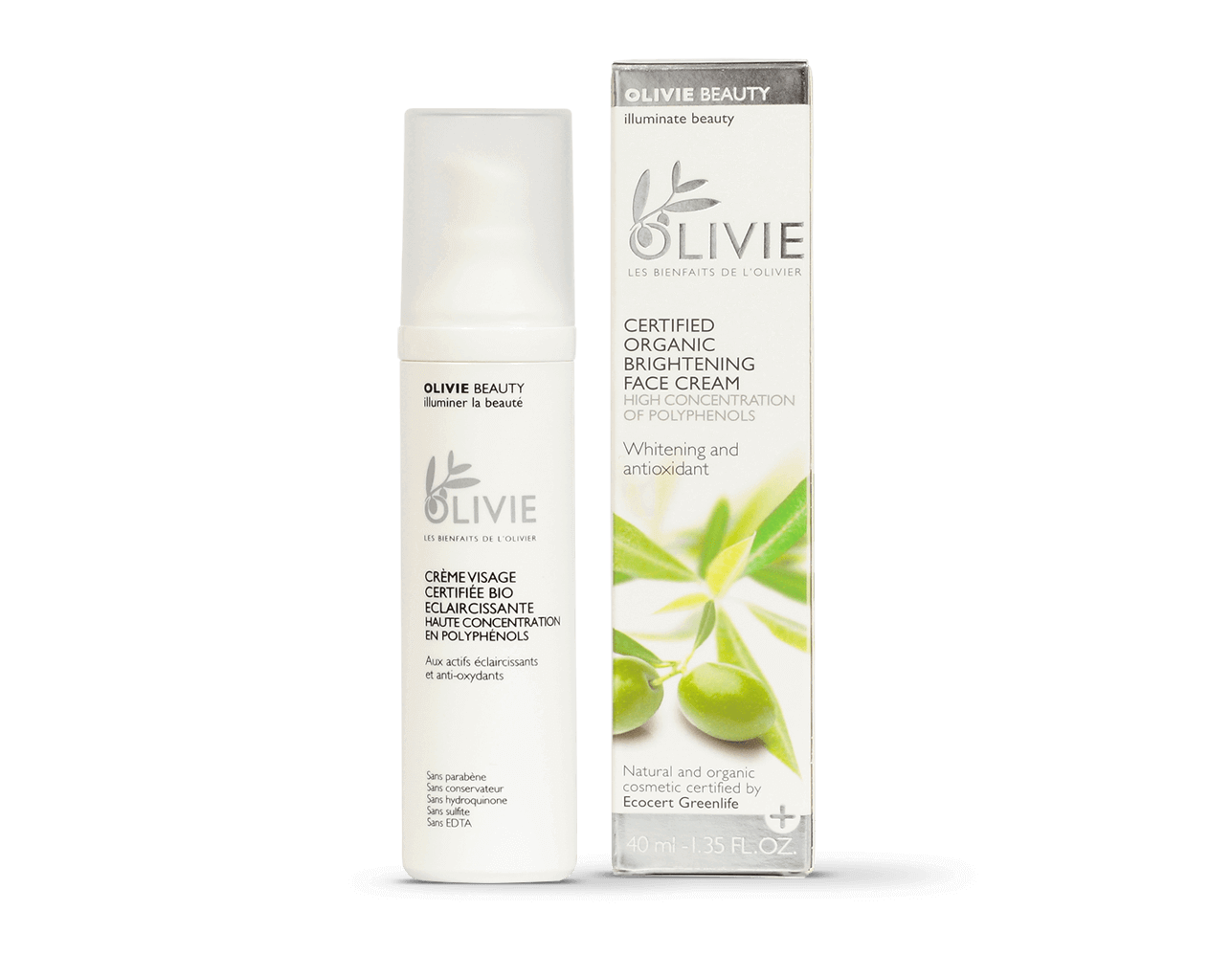 OLIVIE BEAUTY is the ultimate organic certified face cream with high concentration of polyphenols.