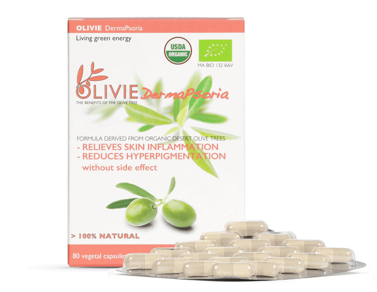 OLIVIE DERMAPSORIA, organic capsules to reduce skin inflammation, rich in polyphenols, for psoriasis, atopic, eczema and acne.