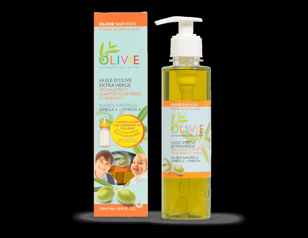 OLIVIE BABY/KIDS est une huile d'olive extra vierge BIO pour les plus petits! Réduit les coliques des bébés.